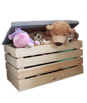 Drewniana skrzynia na zabawki eco pufa dla dzieci