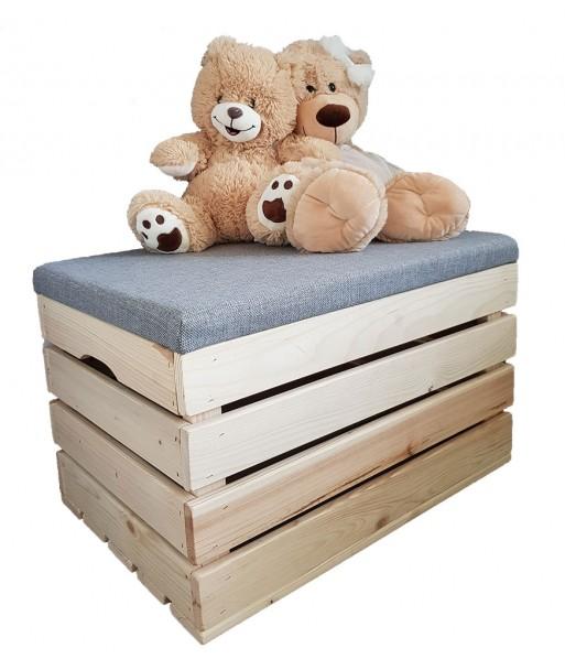 Pufa dla dzieci drewniana skrzynia na zabawki eco